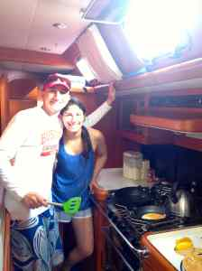 Matt and Jackie in the galley