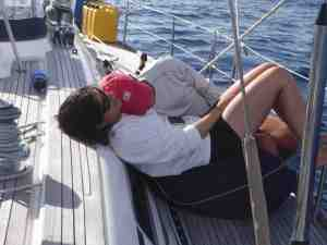 Jackie and Matt cuddling off the coast of Southern Spain