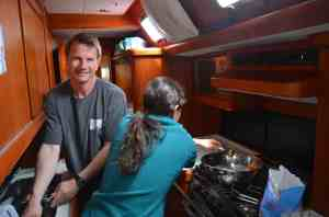 Teamwork in the galley!  Thanks to all the crew for helping prepare meals and clean dishes!
