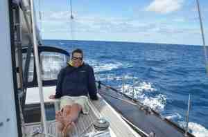 Tom on deck, calm day