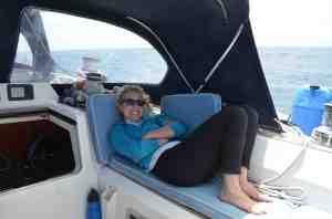Liz relaxing in the cockpit