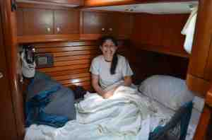 Jackie relaxing in aft cabin