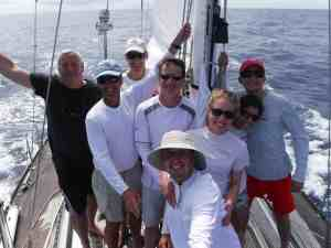 Hi from the crew!  75o miles to Horta. (Moonman, steering, not shown)