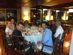 Dinner in Horta, Crew with Mary and Annie